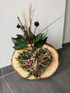 Holzscheibe Vase Herbst Natur