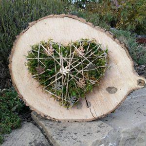 Holzscheibe Herz Herbstlich