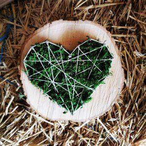 Holzscheibe Herz Moos auf Stroh