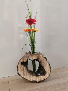 Holzscheibe Loch Vase
